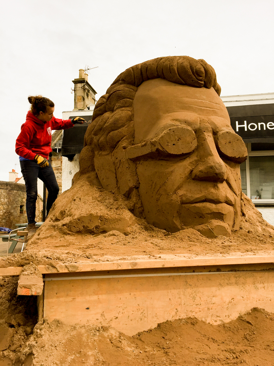 Giant sand sculptures Scotland Sand In Your Eye