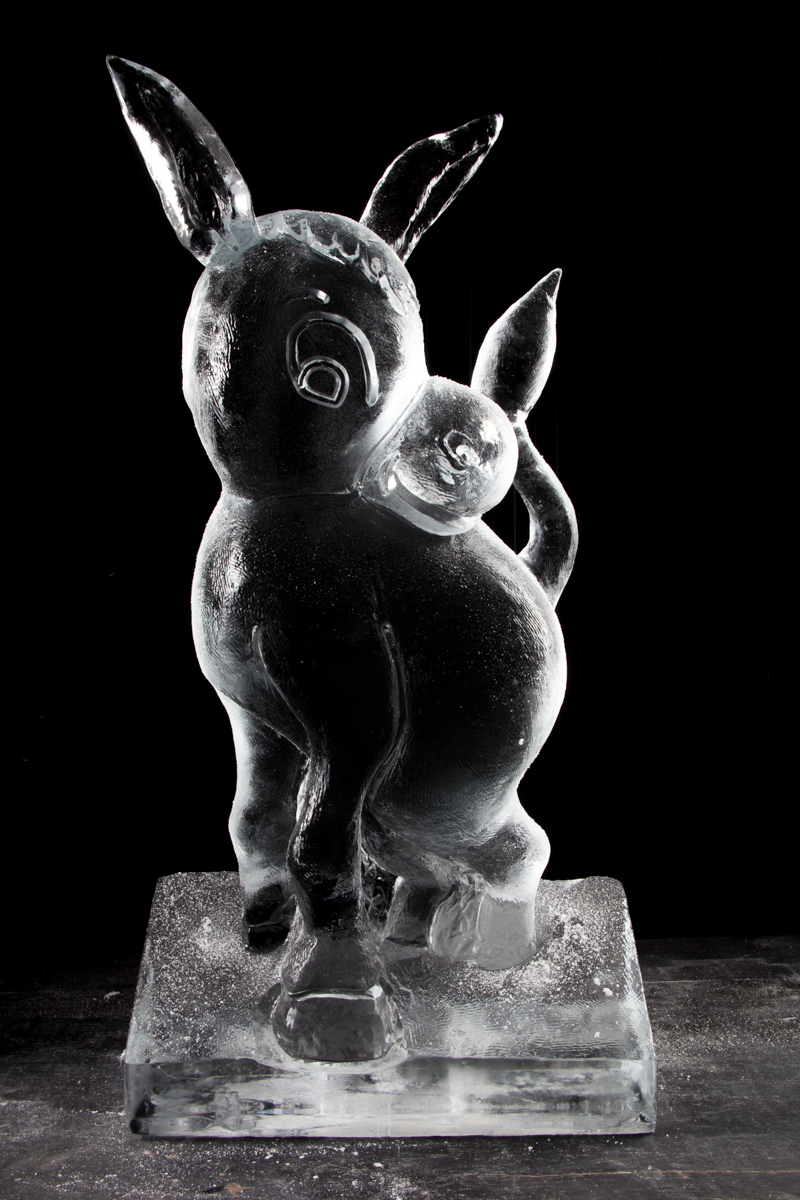 donkey cute character ice sculpture uk
