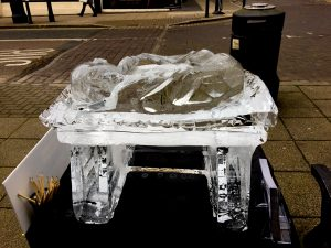 ice sculpture manger baby jesus