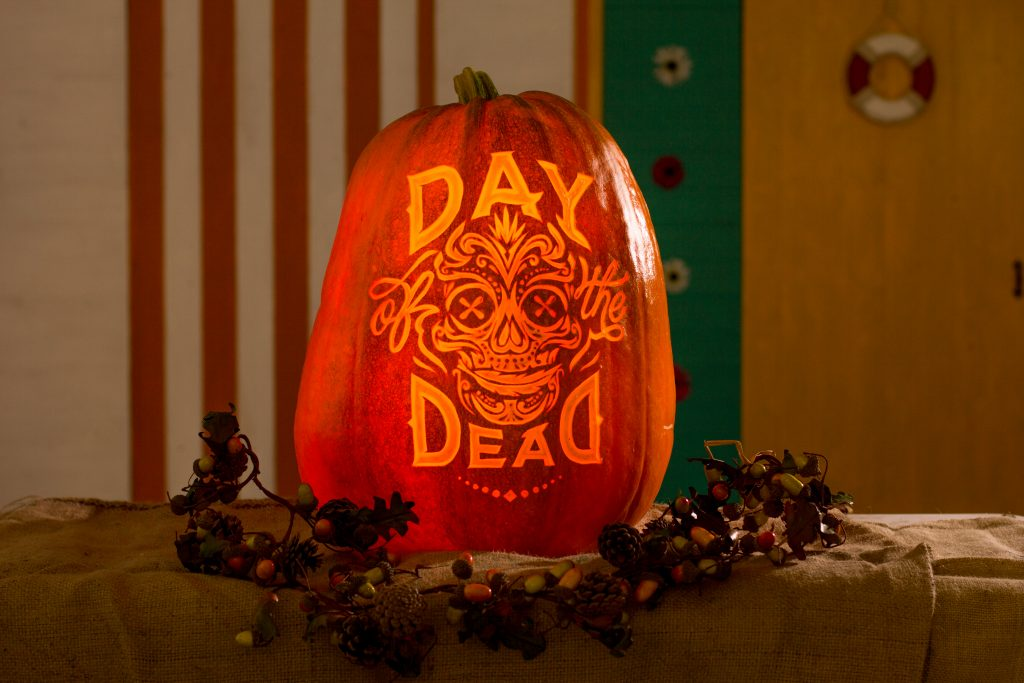 Stencil Style Skull carved on a pumpkin.