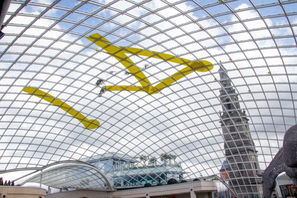 trinity leeds rooftop Big yellow bike