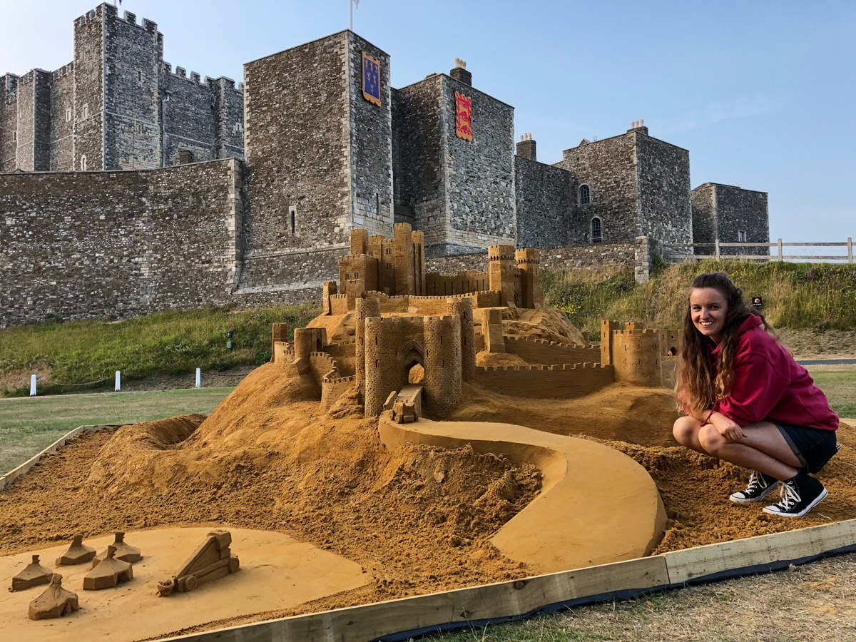 Claire Jamieson with her sand castle
