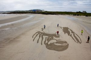 anamorphic sand drawing beach