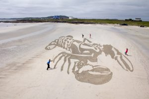 anamorphic sand drawing public event