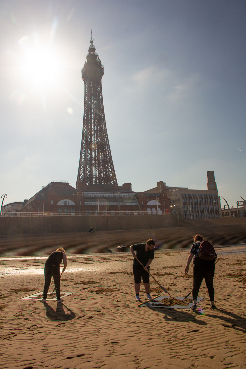 sand drawing blackpool tower
