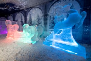 Nottingham winter wonderland ice sculpture UK