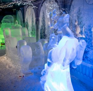 christmas themed ice sculptures