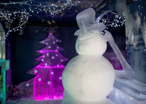 christmas themed ice sculptures snowman