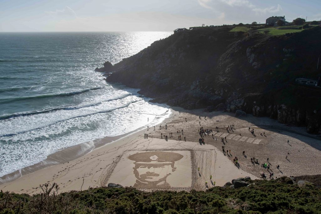 danny boyle sand art beach art Peter Hall