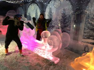 snow carving ice bar