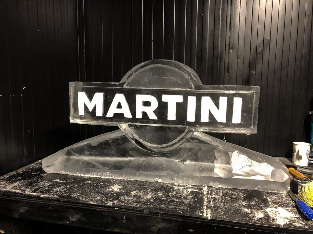 Martini ice sculpture
