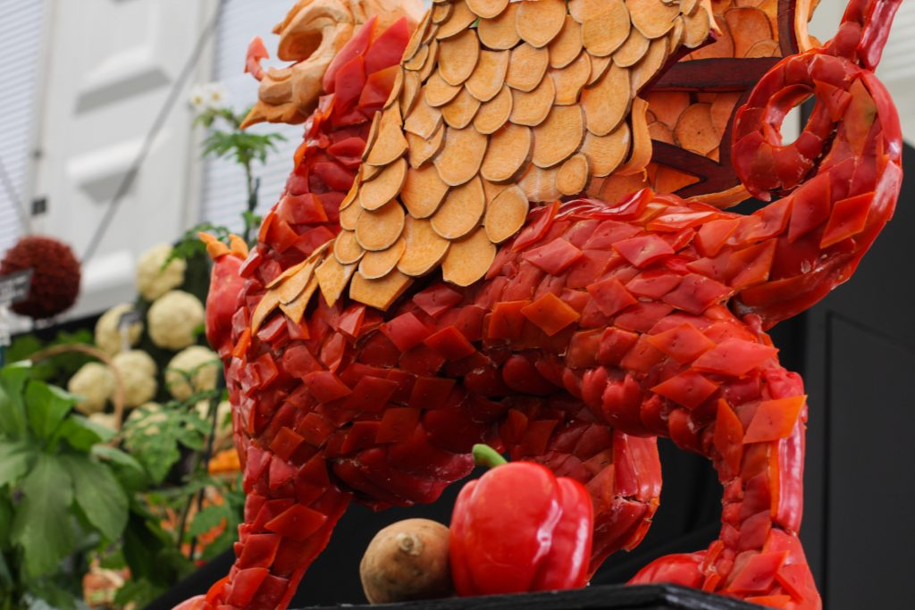 carved vegetables Chelsea flower show