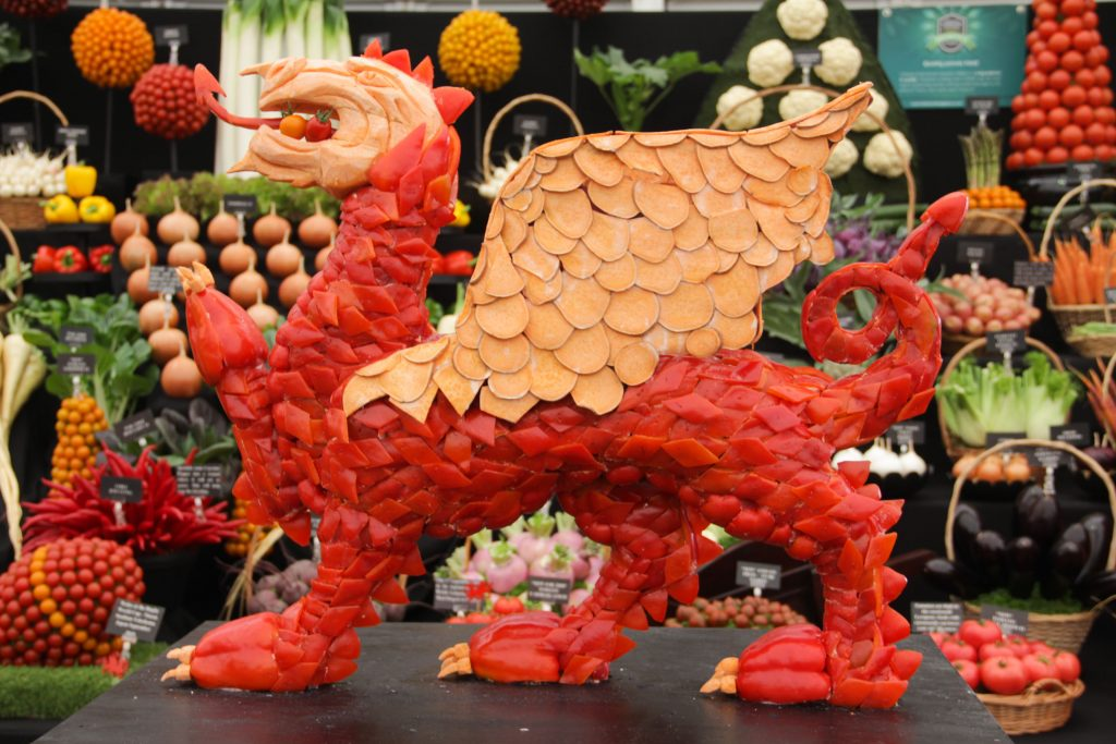 Wales dragon vegetable sculpture