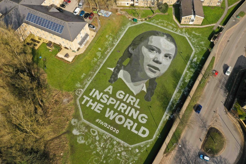 giant portrait greta thunberg uk