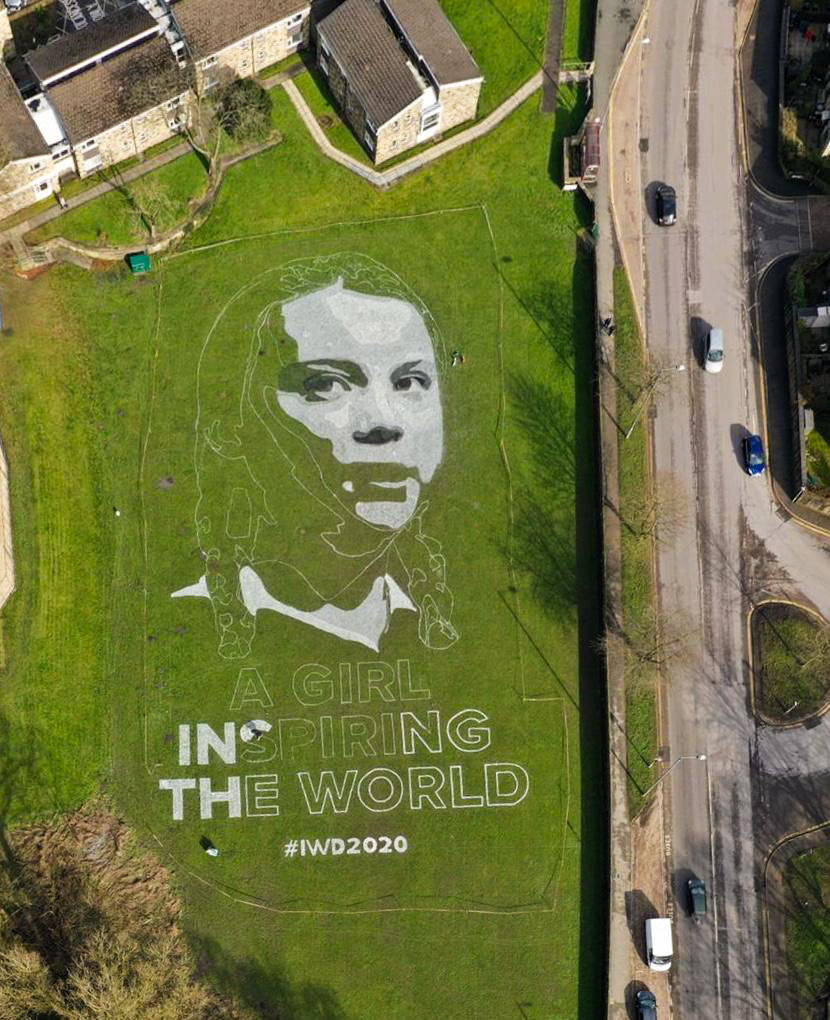 greta thunberg portrait land art uk