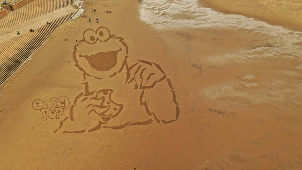 sand drawing cookie monster sony kids