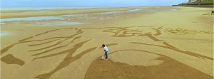 sand drawing drone footage