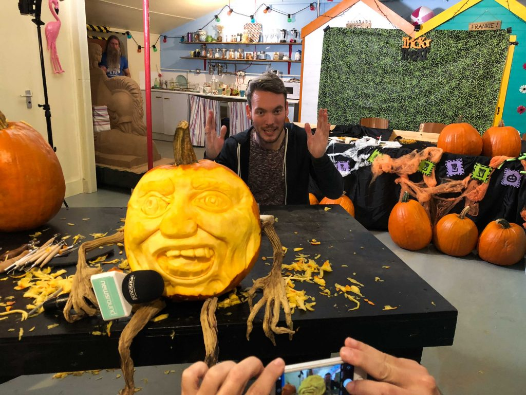 3d carved pumpkin for pr and events