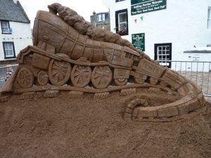 Train sand sculpture, East Neuk, credit Sand in Your Eye