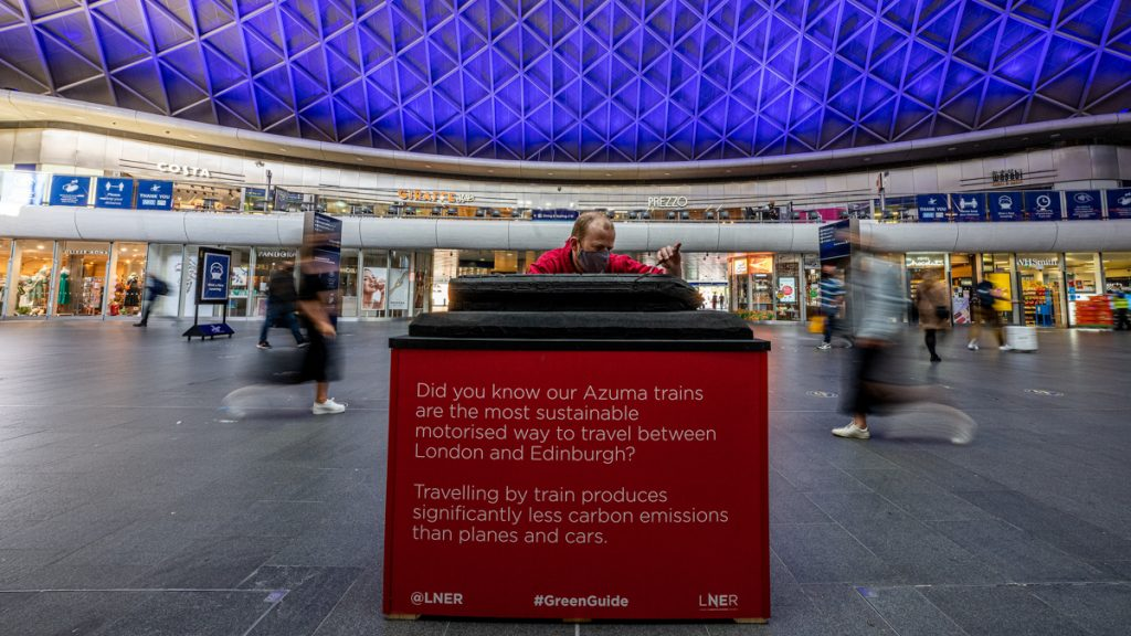 Series of sculptures unveiled at London King's Cross Station to highlight environmental credentials of train travel as staycations boom